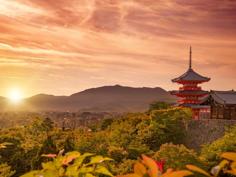 view of Kiyomizudera shrine and Kyoto city at sunset